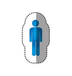 Sticker 3d colorful pictogram man design vector