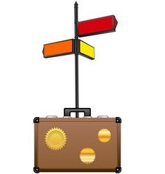 Street sign and travel suitcase vector image