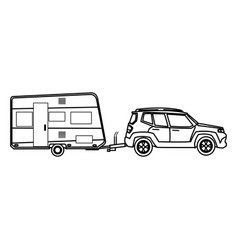suv car and trailer camping adventure travel vector image vector image