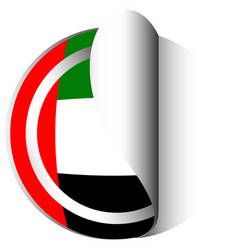 United arab emirates flag on round sticker vector