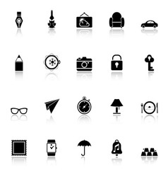 Vintage collection icons with reflect on white vector