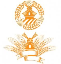 windmill emblem vector image vector image
