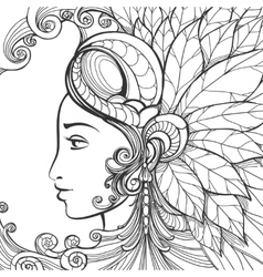 Zentangle woman face vector image