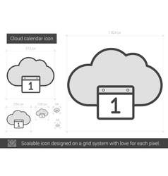 Cloud calendar line icon vector