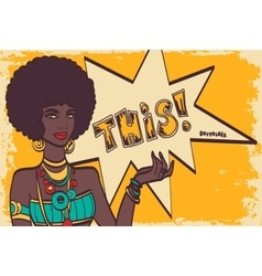 THIS pop art face Wonderful sexy african woman vector image