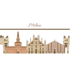 Template with famous landmarks of milan vector