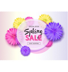 Spring sale background with flowers season vector