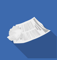 crumpled paper icon in flate style isolated on vector image