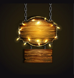 Wooden boards with lights vector