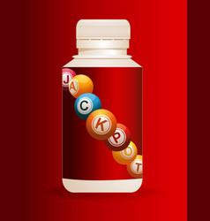 Jackpot plastic bottle over red background vector