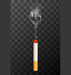 Realistic burning cigarette with white smoke in vector