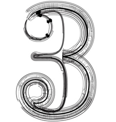 Technical typography number 3 vector