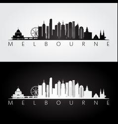 melbourne skyline and landmarks silhouette vector image