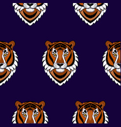 embroidery tiger head seamless pattern vector image