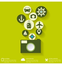 Abstract travel background with flat web icons vector