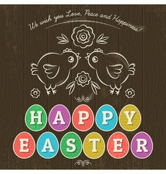 Greetings card for easter day with colored eggs vector