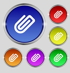 Paper clip icon sign round symbol on bright vector