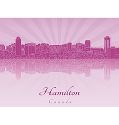 Hamilton skyline in purple radiant orchid vector