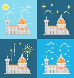 Flat design of cathedral of florence italy vector