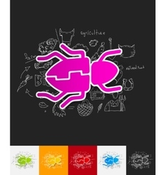 Beetle paper sticker with hand drawn elements vector