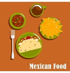 Mexican lunch with tacos and nachos vector