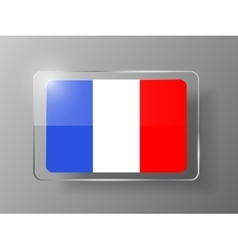 France flag glossy button vector