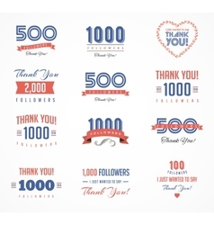 Thank you followers badges stickers and labels vector image
