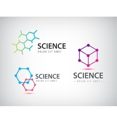 Set of science logos biology physics vector