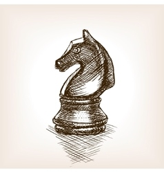 Chess knight sketch vector image