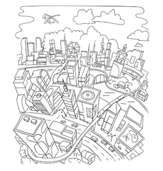 Line draw futuristic city architecture vector