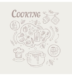 Cooking ingredients and attributes set vector