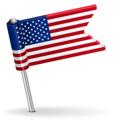 American pin icon flag vector