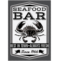 Banner with crab for restaurant menu vector image vector image