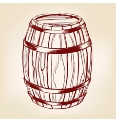 barrel wooden wine or beer hand drawn vector image