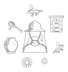Beekeeping and apiary sketch icons vector