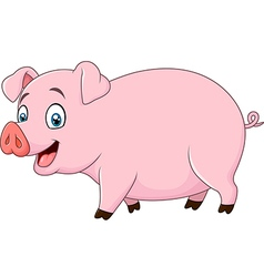 Cartoon happy pig isolated on white background vector