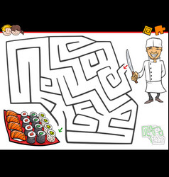 cartoon maze activity with chef and sushi vector image vector image