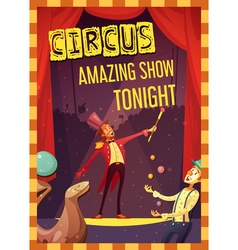 Circus performance announcement retro style poster vector