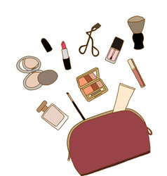 Cosmetic bag with a make-up accessories vector image vector image