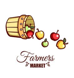 Farmers market bucket of apples vector