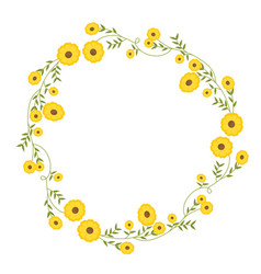floral circular wreath decoration with yellow vector image