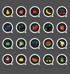 fruit speech bubble set vector image