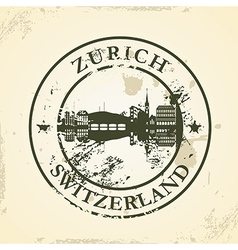 Grunge rubber stamp with Zurich Switzerland vector image vector image