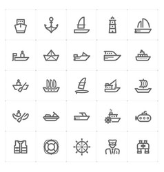 Icon set - boat and ship vector
