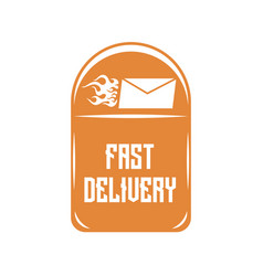 logo of quick delivery of letters on an orange vector image vector image