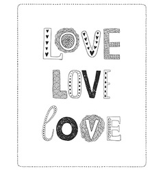 Love greeting card with hand drawn letters vector image vector image