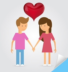 Love marriage couple and red heart between of them vector image vector image