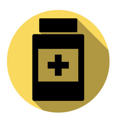 medical container sign flat black icon vector image vector image