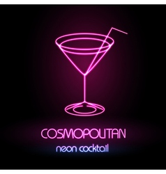 Neon sign Cocktail vector image