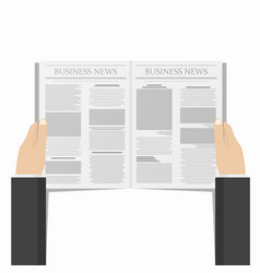 newspaper in businessman hands daily business vector image vector image